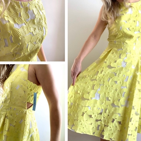 a0c15af5603 Antonio Melanie Yellow Cut Out Side Dress New. NWT. ANTONIO MELANI